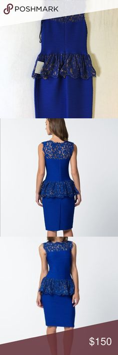 Tadashi Shoji Blue Lace and Peplum Dress Dress still has tags and was never worn and in great condition. Still has tags and original price was over $300. Below the knee. Perfect for cocktail party or wedding! Tadashi Shoji Dresses Wedding