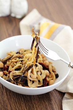 Eggplant Noodles with Chickpeas, Raisins and Sundried Tomatoes