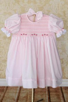 48352fddd Items similar to Soft pink smocked dress with/without bloomer, smocked  dress baby girl, hand smocking dress, imperial batiste, smocking dress on  Etsy
