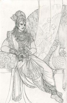 Krishna Drawing, Krishna Painting, Krishna Art, Lord Krishna Sketch, Radha Krishna Sketch, Hare Krishna, Art Drawings Sketches Simple, Cute Drawings, Indian Illustration
