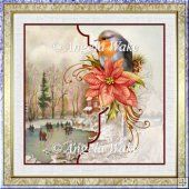 Robin and skaters 7x7 card with decoupage