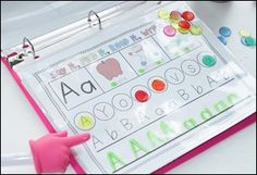 Kindergarten RTI: Letter Identification & Recognition. Very cool letter book. Lexi is no where CLOSE to Kindergarten, but this is perfect for her level right now. This would def keep her happy on the road trips too.