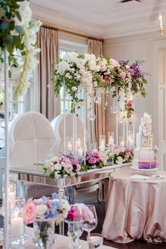 An Ombré Floral Wonderland - WedLuxe Magazine Wedding Centerpieces, Wedding Decorations, Table Decorations, Hand Painted Cakes, Simple Elegant Wedding, Flower Backdrop, Wedding Table Settings, Luxury Decor, Elegant Wedding Invitations