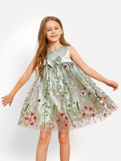 61a52e2610a Girls Bow Front Floral Embroidered Mesh Dress  clothes  girls  fashion   trend