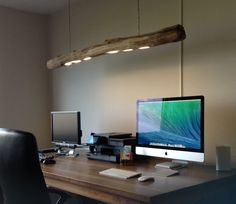 Led desk lamp, tree trunk ceiling lamp made of weathered old oak trunk.