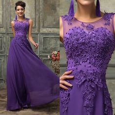Long Lace&Chiffon Bridesmaid Evening Formal Party Cocktail Dress Prom Ball Gown #GraceKarin #BallGown #Formal
