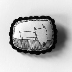 Dog - b handcrafted and illustrated brooch felt. $20.00, via Etsy.