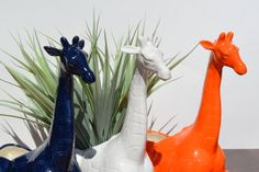 Vintage Ceramic Giraffe Planter, Orange, Navy Blue and White