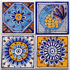 Hand Painted Ceramic Tile Coasters. Mediterranean Inspired Design | Jocelyn Proust Designs | madeit.com.au
