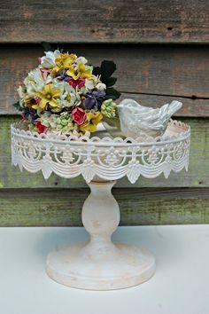 Wedding Cake - Shabby Chic, Vintage Style, Rustic Pedestal Cake Stand - Your choice of color on Etsy, $55.00