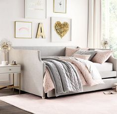 Annika Upholstered Daybed with Trundle Future Room Daybed Bedding, Upholstered Daybed, Bedding Sets, Gray Bedding, Girls Daybed Room, Girls Bedroom, Girls Room Desk, Preteen Girls Rooms, Dream Rooms