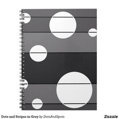 Dots and Stripes in Grey Spiral Notebooks