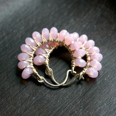 Handmade pink beaded hoops, lilac, pink earrings, wire wrapped, Czech glass, 14k gold filled, Mimi Michele Jewelry