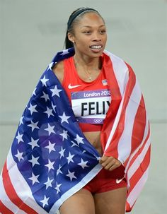 Best Of London: Day 12 - Allyson Felix of the USA celebrates after winning the women's 200m at Olympic Stadium