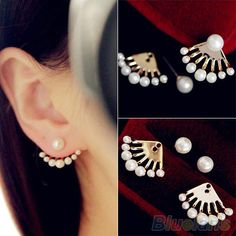 Fashion  Front & Back Earrings Pearl Ear Earbobs Ear Clips Studs earrings for women 1PD5