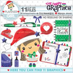 Christmas Clipart, Christmas Graphics, COMMERCIAL USE, Kawaii Clipart, Christmas Party, Planner Accessories, Planner Girl, Planning Clipart