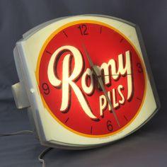 Vintage Belgian Lit Advertising Clock