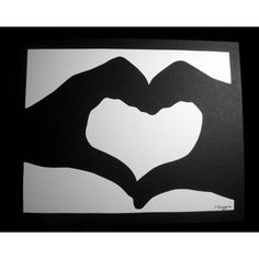 Heart Shaped Hands Paper Cut - Heart Silhouette Paper Cutting - Paper... ($45) ❤ liked on Polyvore