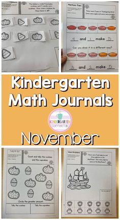 November math journals for kindergarten. Just right activities with easy cuts for little hands. Thanksgiving Activities For Kindergarten, Kindergarten Math Activities, Fun Math, Build Math Centers, Early Math, Math Notebooks, Math Stations, Teacher Hacks, Math Lessons