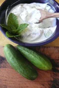 lebanese yogurt and cucumber salad with mint and garlic; recipe from alice's kitchen: traditional lebanese cooking