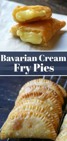 These fry pies are filled with Bavarian Cream and coated with a buttery sugary glaze. When warm these handheld fry pies melt in your mouth. Just Desserts, Delicious Desserts, Dessert Recipes, Yummy Food, Pastry Recipes, Cooking Recipes, Mini Pie Recipes, German Recipes, Donut Recipes