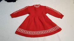 huebsches-Hand-Strickkleid-Baby-Puppe-50s-60-Wolle-max-Gr-50