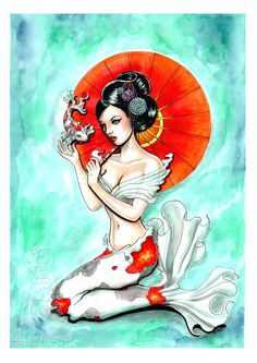 Koi Geisha original artwork mermaid ink/ by Isobelvonfinklestein, $105.20