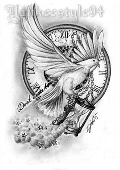 White Dove with an Hourglass TATTOO by Yankeestyle94 Clock Tattoo Design, Tattoo Design Drawings, Tattoo Sketches, Tattoo Designs Men, Tattoo Clock, Dove Tattoo Design For Men, Alas Tattoo, Jesus Tattoo, Feather Tattoos