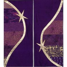 In the Spirit Collection, bands of different fabrics are separated from a solid background by a gently-curving ribbon of lame' or other fabric. Church Banners Designs, Altar Cloth, Solid Background, Banner Design, Fiber Art, Advent, Church Decorations, Spirit, Quilts
