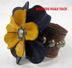 Vintage Scroll Leather Cuff Bracelet with Hand Dyed Leather Flowers by  Running Roan Tack Cuir, 1db3a2300a2