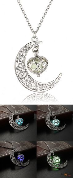 US$3.12 + Free shipping. Color: Light blue, Blue, Green, Purple. Material: Copper, Luminous stone. Fall in love with fashion and trendy style! Steampunk Hollow Moon Glow In The Dark Luminous Necklace.