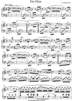 Beethoven - Fur Elise (original) sheet music for Piano - Composition Date: c.1810 Composition Info: Bagatelle in A minor. Nicknamed Fur Elise because the original manuscript is inscribed Fur Elise (For Elise). However, recent scholars have suggested that it actually read For Therese - Therese (von Brunswick) being the woman Beethoven fell in love with, and among whose possession the score was eventually discovered.