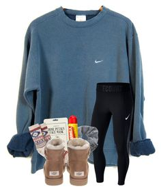 """""""I'm so sore"""" by magsvolleyball2 ❤ liked on Polyvore featuring NIKE, Topshop, Carmex, Kocostar, HUE and UGG"""