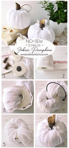 Make these stunning DIY no-sew fabric pumpkins in just 5 minutes and use them all over your home for beautiful fall deco Mason Jar Crafts, Mason Jar Diy, Bottle Crafts, Diy Y Manualidades, Manualidades Halloween, Diy Pumpkin, Pumpkin Crafts, Fall Halloween, Halloween Crafts