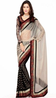 Jhankar Fab Self Design Bollywood Net Sari - Buy Black Jhankar Fab Self Design Bollywood Net Sari Online at Best Prices in India | Flipkart.com