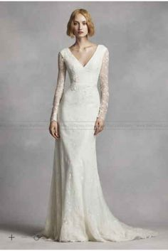 15ef575a21dd White by Vera Wang Long Sleeve Lace Wedding Dress VW351270 Bridal Dresses,  Used