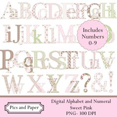New set of digital alphabet in pink, brown and green