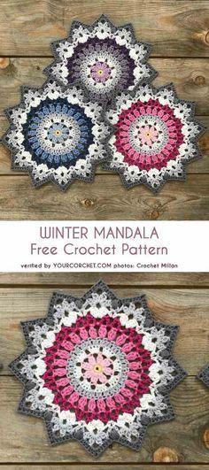 Crochet Winter Mandala Free Crochet Pattern & Paid - Crochet Clothing and Accessories Motif Mandala Crochet, Crochet Doily Patterns, Crochet Squares, Crochet Designs, Crochet Flowers, Knitting Patterns, Crochet Doilies, Granny Squares, Cloth Patterns