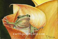 Frog flower painting 8x10 canvas oil painting by Earthspalette, $95.00