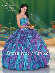 Peacock 2014 Bule and Purple Quinceanera Ball Gowns Beaded Organza Ruffles Vestidos De 16 Vestidos De Gala Free Shipping PF272