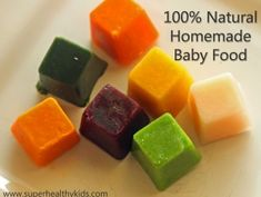 Homemade Baby Food Basic Recipes.  100% natural - the flavor combinations are endless!  Introduce your baby to lots of new flavors when they are little to help them be great eaters when they are older!