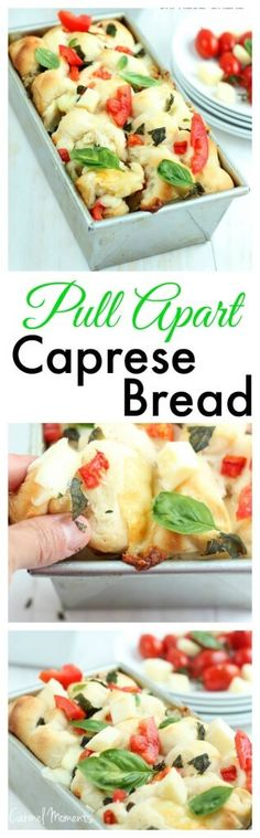 Pull Apart Caprese Bread - Delicious homemade dough topped with fresh tomatoes, basil and mozzarella. This bread makes the perfect summer appetizer drizzle with garlic and oil yum ! I Love Food, Good Food, Yummy Food, Great Appetizers, Appetizer Recipes, Brunch Appetizers, Pull Apart, Cooking Recipes, Cooking Food