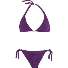 Melissa Odabash Tahiti triangle bikini ($97) ❤ liked on Polyvore featuring swimwear, bikinis, bathing suits, bikini, swimsuits, purple, tie-dye bathing suits, triangle swim suits, triangle bathing suits and bikini bathing suits