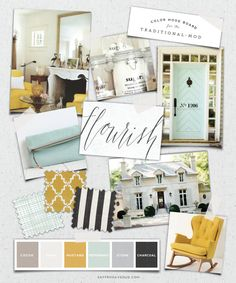 Not so much the mint, but I love mustard yellow! Mood Board :: Mint Mustard for the Traditional-Mod :: Saffron Avenue