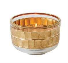Glass Bowl/Votive Holder with Gold Detail Set of 12