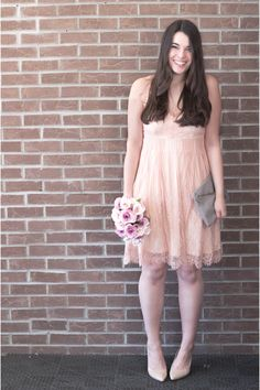 This look really works for any date night, especially a Spring date! I love how soft and delicate this dress with the eyelash lace lining the hem and neckline. I am also obsessed with the lace-up back details. Click the pin to see more details at My Sweet Genevieve