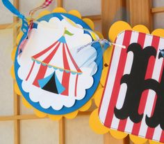 Happy Birthday Banner - Big Top Birthday - Bunting - Circus Carnival Party - Primary Colors. $30.00, via Etsy.