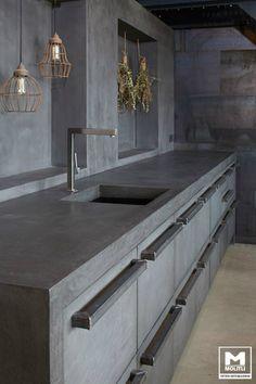 Concrete Kitchen Design – # Countertop # Kitchen - Home Page Industrial Kitchen Design, Modern Kitchen Design, Interior Design Living Room, Industrial Kitchens, Beton Design, Design Tisch, Design Küchen, Design Ideas, Concrete Design