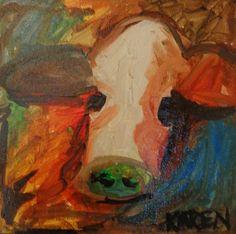 Karen Snow, Cow, INK, 12 x 12 #art, #ublylicious, #cuticleofthethumb