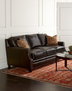 "Brenton Leather Sofa   89""W x 42""D x 39""T."